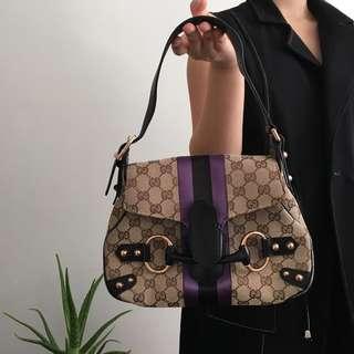 Gucci Horsebit Tom Ford Limited Edition Leather Monogram Satin Stripe Canvas Shoulder Bag