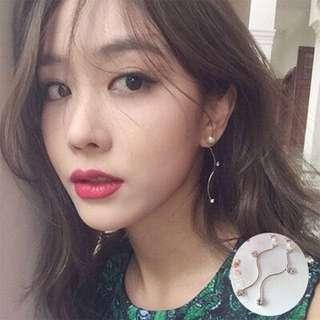 (FREE POS) Pearl and Silver Diamonds Zig Zag Korean Dinner Earring