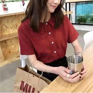 [NEW] BUTTON UP RED TOP #MFEB20