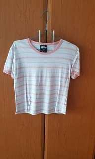 Cotton on T Bar pink and white striped top/ shirt
