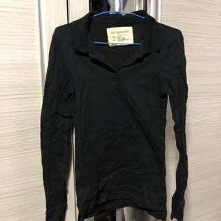 🚚 Aeropostale Black Long Sleeve Polo Tee (Size M)