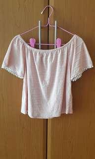 TEMT valley girl blush pink white pom pom off shoulder top