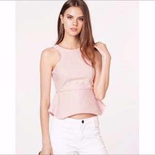 (Preloved) TCL Heidi Peplum Top In Pink - Size M