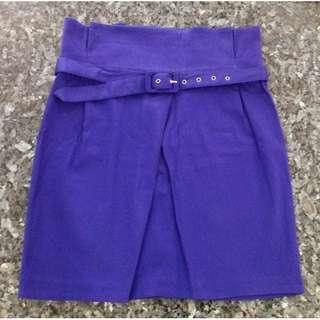 🚚 Preloved Purple A-line Semi-soft Material Skirt With Belt - 2 pieces, 1 SOLD