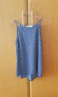 Temt valleygirl navy blue white stripe spag top