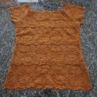 🚚 Preloved Short Sleeve Brown Flower Lace Top - 2 pieces, 1 SOLD