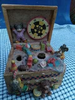 Antique 'Music Box' with Hand-crafted Figures - Japan