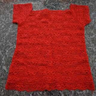 🚚 Preloved Short Sleeve Red Lace Top - 2 pieces, 1 SOLD