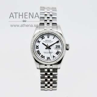 """ROLEX LADIES OYSTER PERPETUAL DATEJUST """"AN"""" SERIES """"WHITE ROMAN DIAL """" WITH CERT 179174 (LOCAL AD) JWWRL_1226"""