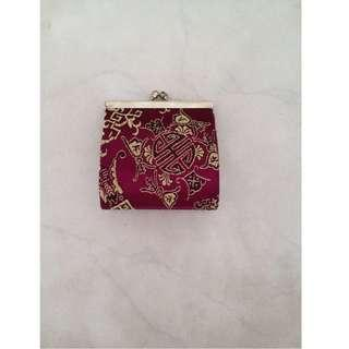 🚚 Maroon With Oriental Prints Purse - 2 pieces, 1 SOLD
