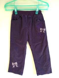 🚚 深紫色蝴蝶結鬆緊腰圍長褲