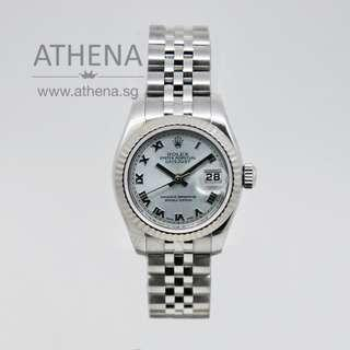 """ROLEX LADIES OYSTER PERPETUAL DATEJUST """"Z"""" SERIES """"ICE BLUE ROMAN DIAL"""" 179174 WLWRL_788"""