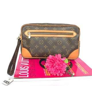 AUTHENTIC LOUIS VUITTON MONOGRAM MONOGRAM MARLY DRAGONNE CLUTCH BAG
