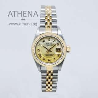 """ROLEX """"HALF-GOLD"""" OYSTER PERPETUAL LADIES DATEJUST """"K"""" SERIES """"GOLD MOP ROMAN DIAL"""" 79173 WLWRL_1093"""