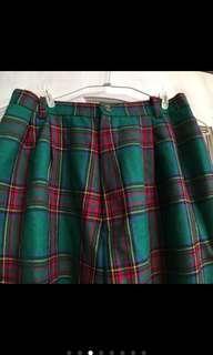 復古格紋聖誕寬版長褲 日本帶回 版型修飾效果佳