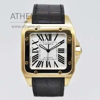 18K YELLOW GOLD CARTIER SANTOS 100 XL AUTOMATIC 2657 WITH BOX JGWCT_036