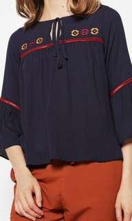 Cotton Ink Navy Blouse