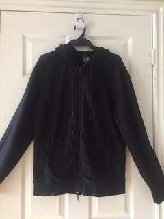 ARMANI EXCHANGE Unisex Full Zip Front Jacket in Black Cotton