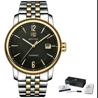 ⌚BENYAR HALF GOLD TONE WITH BLACK DIAL AUTOMATIC WATCH⌚