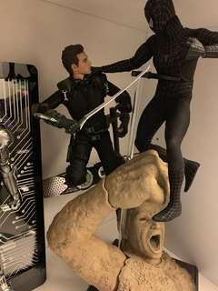 Hottoys 綠魔仔+黑蜘蛛俠(特別版) Spider-Man 送可扭曲支+地台一個