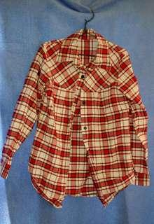 Red checkered l, long sleeved blouse