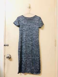 Grey Casual Dress with Slit from Bangkok