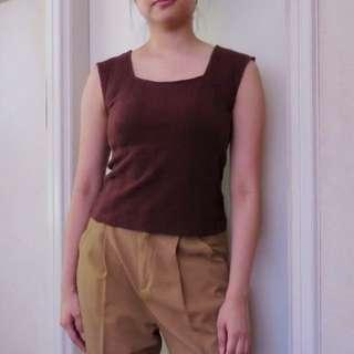 GU Ribbed Brown Top