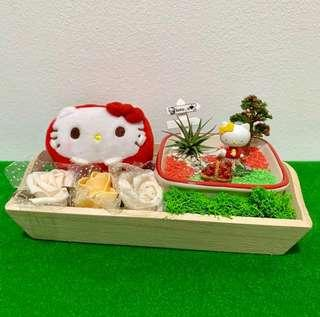 🚚 Love you Flower Bouquet and Airplant Terrarium Sanrio Hello Kitty