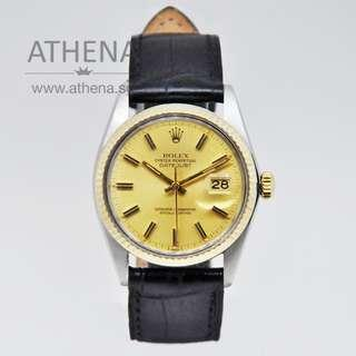 """ROLEX VINTAGE """"HALF-GOLD"""" MENS OYSTER PERPETUAL DATEJUST """"CHAMPAGNE INDEX DIAL"""" WITH BLACK LEATHER STRAP 16013 JGWRL_570"""