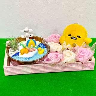 Sanrio Gudetama Airplant Terrarium Flower Bouquet