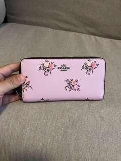 """AUTHENTIC  COACH  """" Cross Stitch Floral Canvas Accordion Zip Wallet (cofac)"""