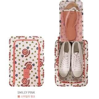 韓版多功能鞋類 粉白哈哈笑 旅行收納手提 袋