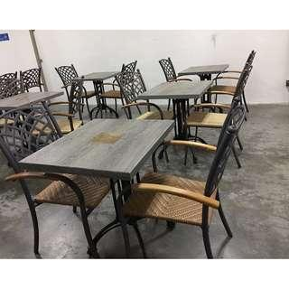 many dining tabled and chairs
