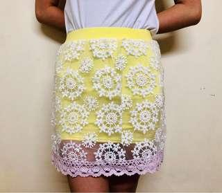 Yellow Ruffle Bandage Skirt from Bangkok