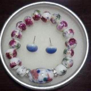 🚚 陶瓷手環耳環組