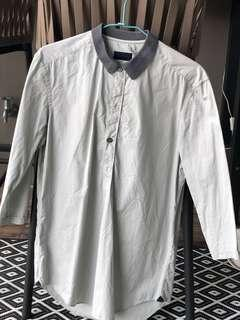 Lanvin shirt with 3/4 sleeves and iridescent buttons
