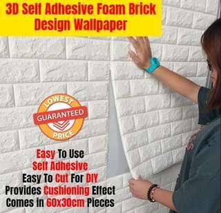 PE Foam Brick Self Adhesive Wallpaper
