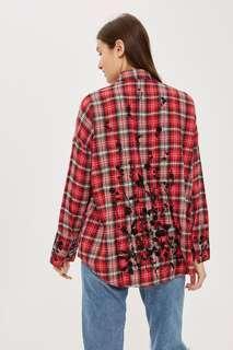 [BNWT] TOPSHOP - Floral Checked Shirt UK8