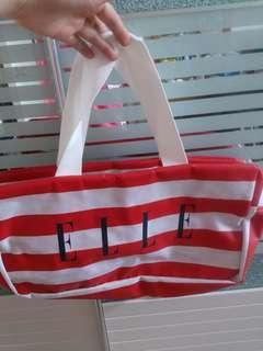 全新ELLE 經典紅白間旅行/手挽袋
