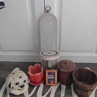 Hanging rustic wooden candleholder small accent decor