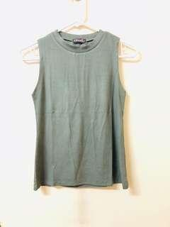 Knitted Sleeveless Top (Olive Green)