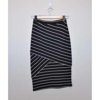 Striped Fitted Midi Skirt
