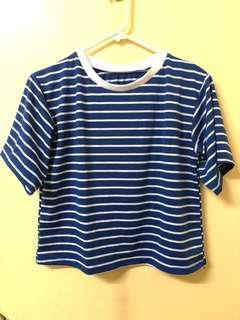 Blue and White Stripes Cropped Top