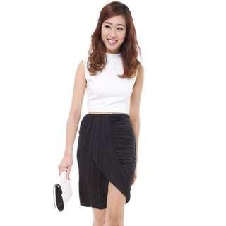 🚚 Brand New MDS Pleated Draped Skirt Asymmetric Skirt Navy Blue M