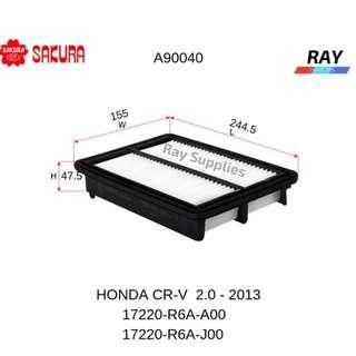 SAKURA AIR FILTER A-90040 , a90040 , a 90040,OEM PART NO: 17220-R6A-A00, 17220-R6A-J00 , HONDA CR-V 2.0  2013>