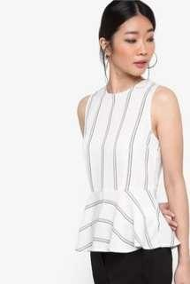 Zalora - Collection Back Button Peplum Top