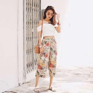 TCL Caylia Floral Printed Culottes in Nude Pink (Size S)