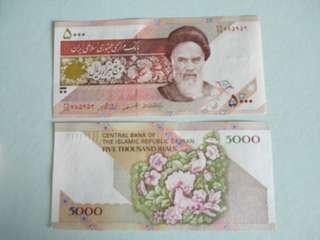 Iran 5000 rials 1993 *birds in flower*