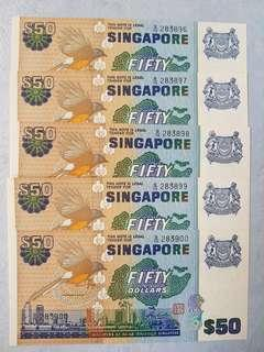 SG Bird $50 Note - 5 Consecutive Number, UNC