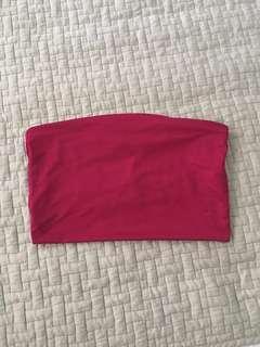 dark pink strapless bandeau crop